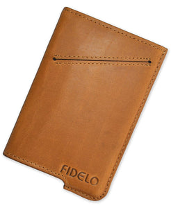 FIDELO Minimalist Wallet for Men - Slim Credit Card Holder RFID Mens Wallets with Leather Case
