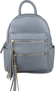B BRENTANO Vegan Multi-Zipper Top Handle Mini Backpack with Tassel Accents