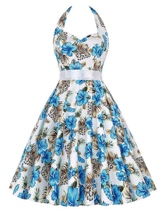 Women Vintage 1950s Halter Cocktail Party Swing Dress with Sash