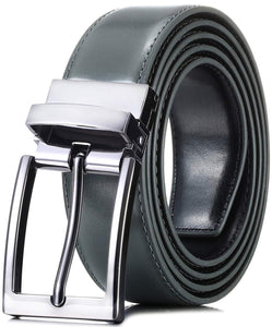 "Marino Reversible Leather Belt For Men - Classic Dress Belt 1.25"" Wide - With Removable Rotating Buckle"
