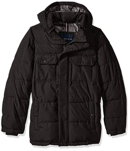 Tommy Hilfiger Men's Nylon Two Pocket Hooded Puffer Jacket (Regular, Big, and Tall)