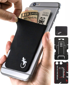 Phone Wallet - Cell Phone Stand - Adhesive Card Holder - Phone Pouch - Stick on Lycra Pocket by Gecko - Carry Credit Cards and Cash - Black/White