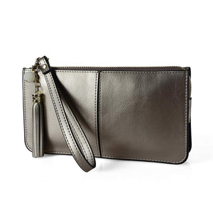 Befen Women Leather Zipper Phone Wallet with Card Holder/Cash Pocket/Wrist Strap
