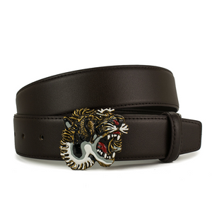 Leather GG Tiger Head Buckle Leather Pants Belt Wholesale