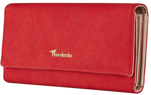 Travelambo Womens Wallet Faux Leather RFID Blocking Purse Credit Card Clutch
