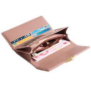 Korean New Long Ladies Wallet Fashion Three Folding Mobile Phone Bag Large Capacity Clutch