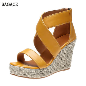 SAGACE Womens Open Toe Wedges Thick Bottom Lace-Up Beach Shoes Roman Sexy High Quality High 5cm-8cm Ladies Shoes Sandals