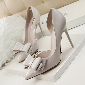 2019 Fashion Delicate Sweet Bowknot High Heel Shoes Side Hollow Pointed Women Pumps Pointed Toe 10.5CM thin Dress Shoes