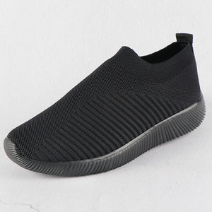 Women Sneakers Female Knitted Vulcanized Shoes Casual Slip On Ladies Flat Shoe Mesh Trainers Soft Walking Footwear Zapatos Mujer