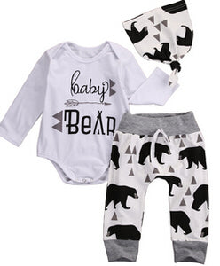 Baby Clothing  Newborn Baby Girl Floral Clothes Jumpsuit Romper +Black Rose Pants Headband Outfit