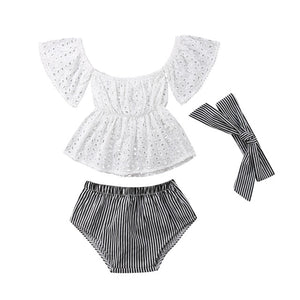 3pcs Toddler Baby Girl clothes set Lace  hollow out  short sleeve Top +Stripe Shorts +headband 3Pcs Outfits set clothes