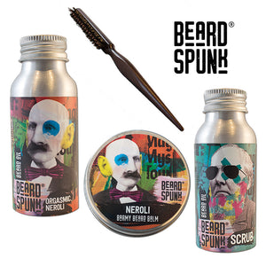 Beard Spunk ® NEROLI Beard Balm 30ml, NEROLI Beard & Moustache Oil 50ml, Beard Shampoo 50ml & Beard Brush. Beard Spunk Beard Oil & Moustache Grooming Kits
