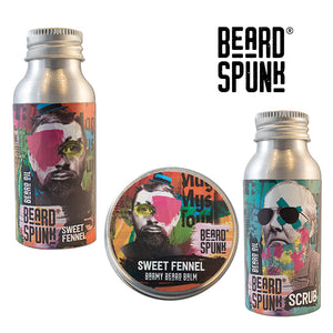 Beard Spunk ® SWEET FENNEL Beard Balm 30ml, SWEET FENNEL Beard & Moustache Oil 50ml & Beard Shampoo 50ml. Beard Spunk Beard Oil & Moustache Grooming Kits