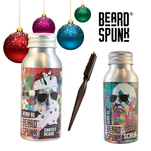 GIFTS FOR HIM - Beard Spunk ® SANTA SPECIAL FRANKINCENSE & CINNAMON Beard Oil, Beard Shampoo & Brush Beard Spunk Beard Oil & Moustache Grooming Kits