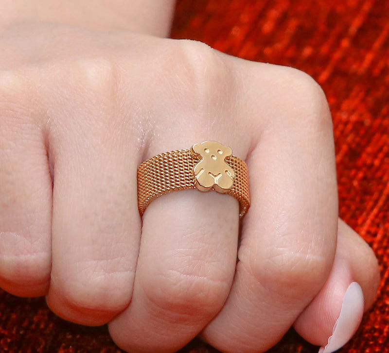 Golden Bear Pave Ring