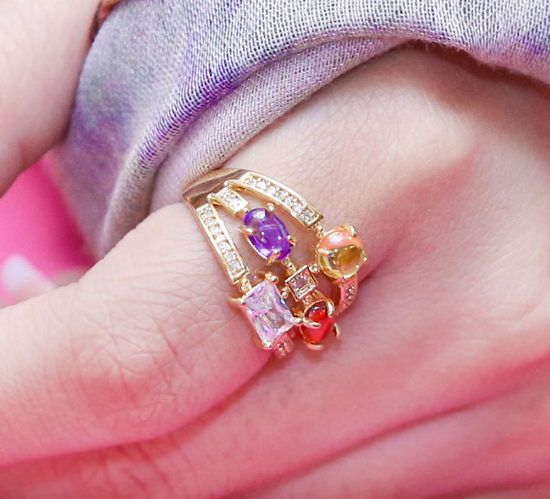 Multi Color Cocktail Ring