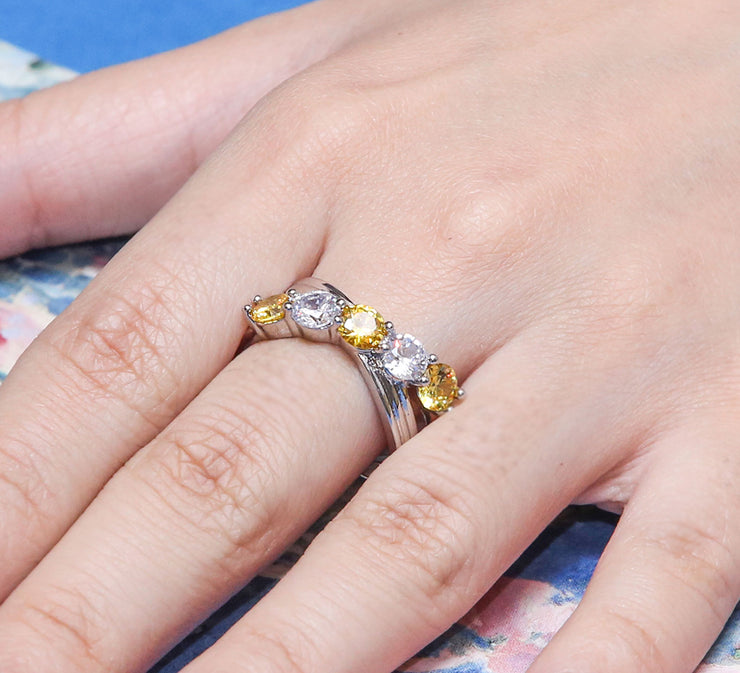 Crossing Stones Pave Ring