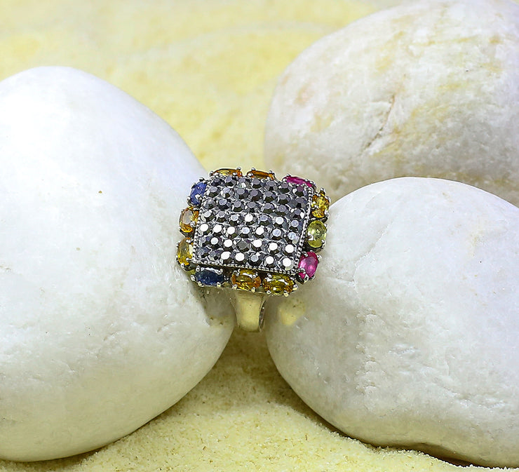 Multicolored Pave Ring Sterling Silver