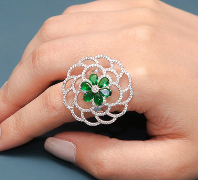 Green Stone Adjustable Ring