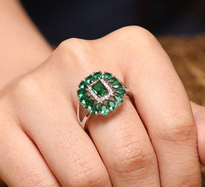 Green Stones Pave Ring