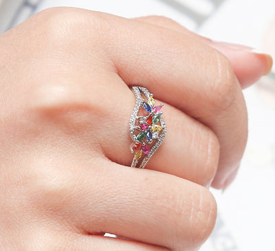 Multicolour Pave Ring