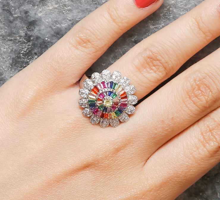 Prismatic Floral Pave Ring