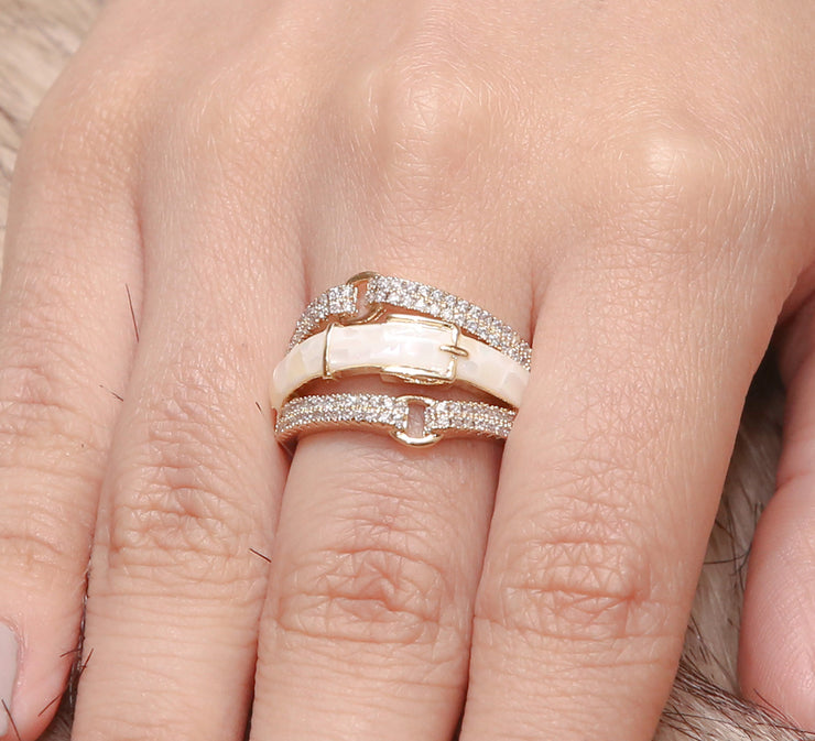 White Strap Pave Ring
