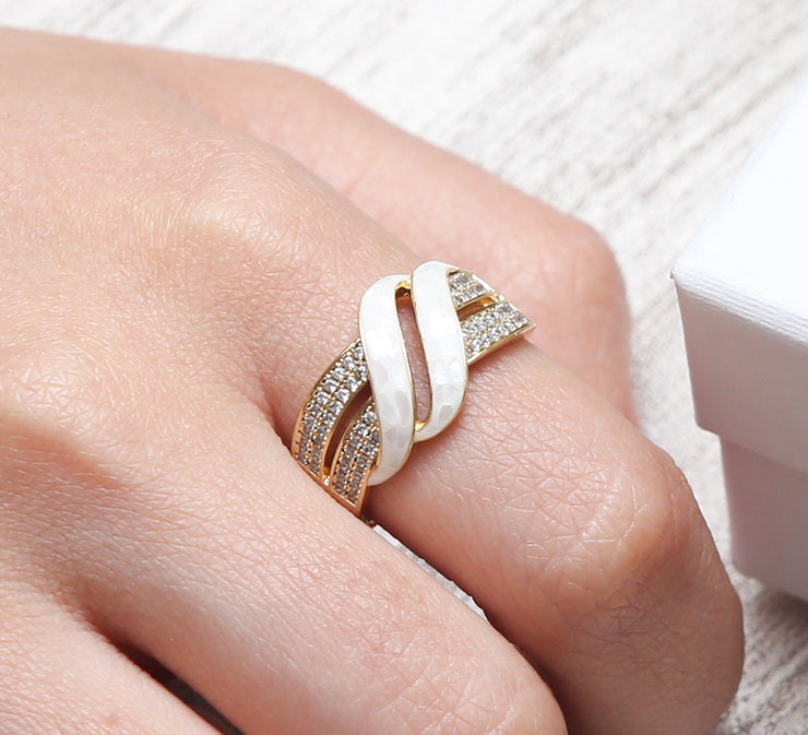 White Strips Pave Ring