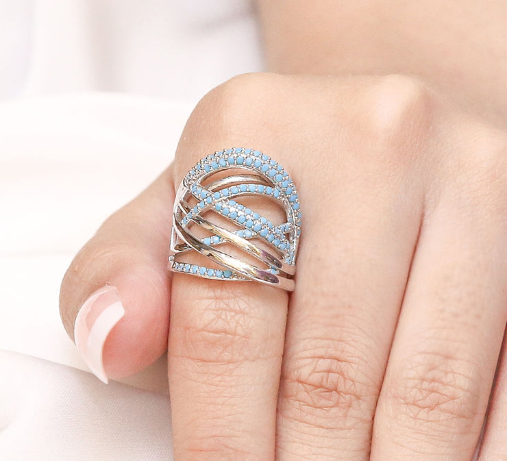 Silver Stylish Pave Ring