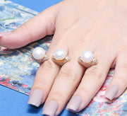 Three Pearl Three Finger Ring
