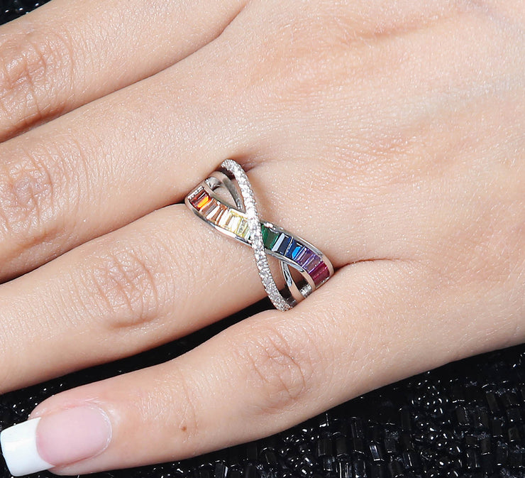 Crossing Multi Stones Ring