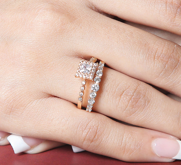 Square Sparkle Halo Couple Ring