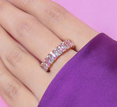 Pink Band Pave Ring
