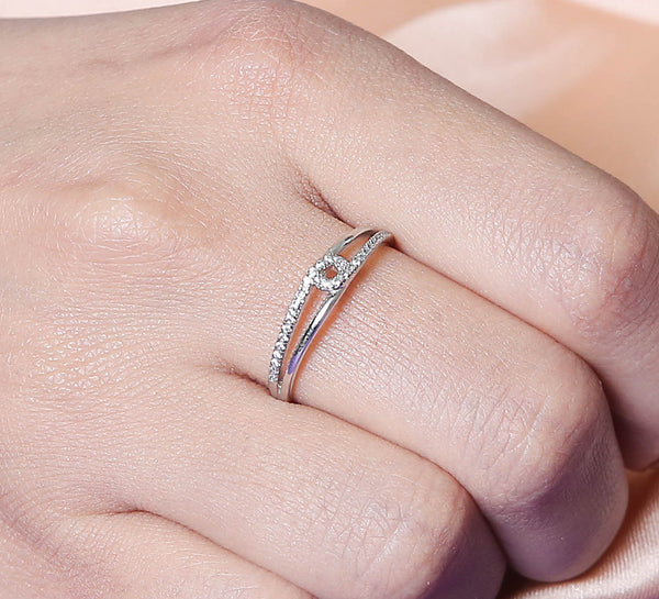 Simple Sparkling Band Sterling Silver Ring