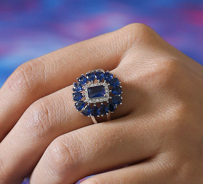 Blue Floral Pave Ring