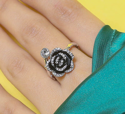 Black Beauty Floral Ring
