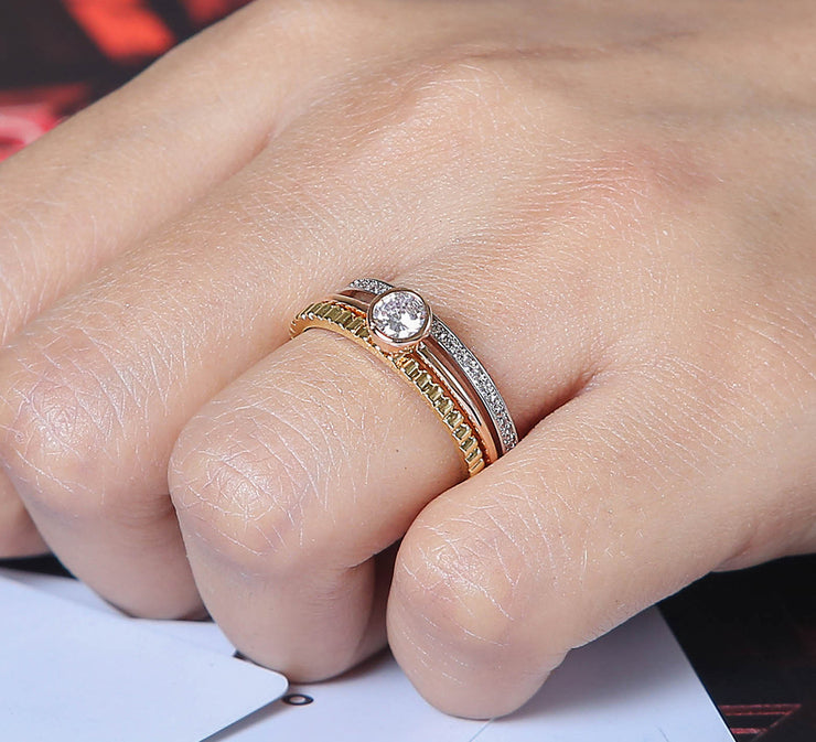 Elegant Sparkling Band - Couple Ring