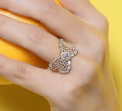 Butterfly Paved Wing Ring