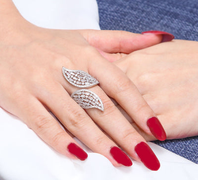 Silver Leaves Pave Ring