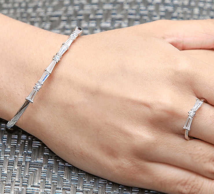Silver Cuff Bracelet With Free Ring