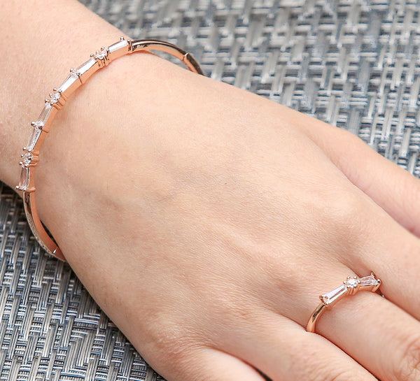 Rose Golden Cuff Bracelet With Ring