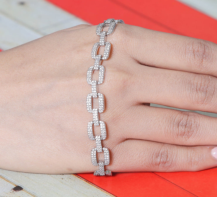 Chained Silver Tennis & Soft Bracelet