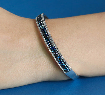 Silver with Blue Stones Cuff Bracelet