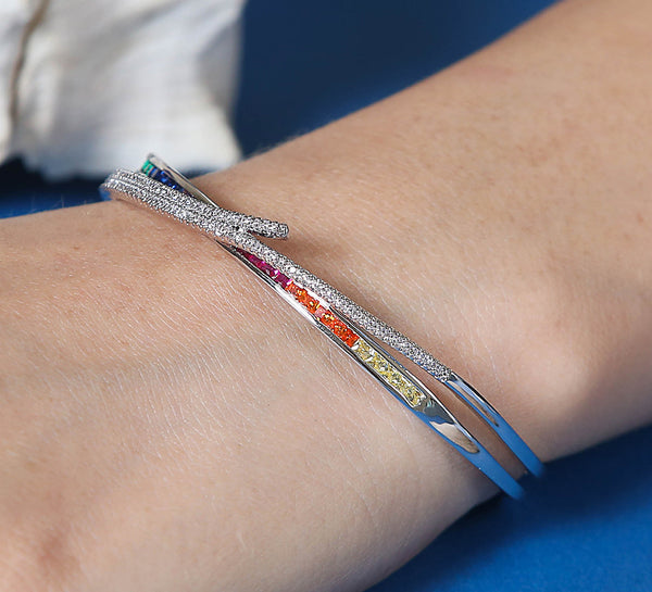 Criss Cross Bands - Silver Adjustable Bracelet