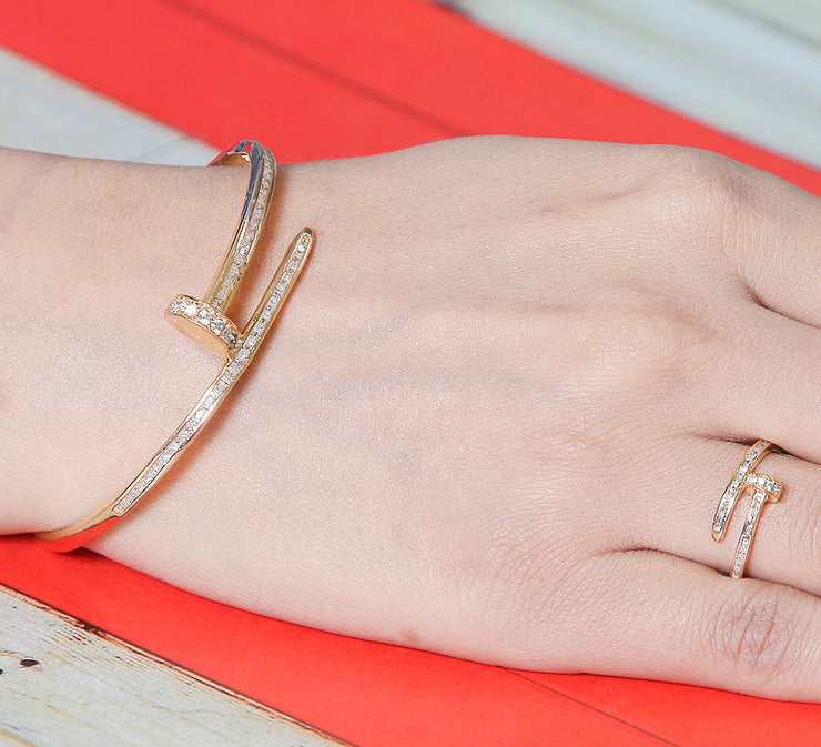 Golden Nail Bracelet with Free Ring