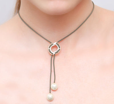 Stringed Pearl Pendant _ Grey
