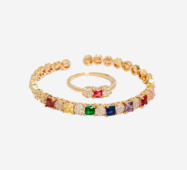 Autumn Style Rainbow Adjustable Bracelet with Ring