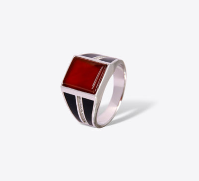 Exotic Maroon Stone Signet Sterling Silver Ring