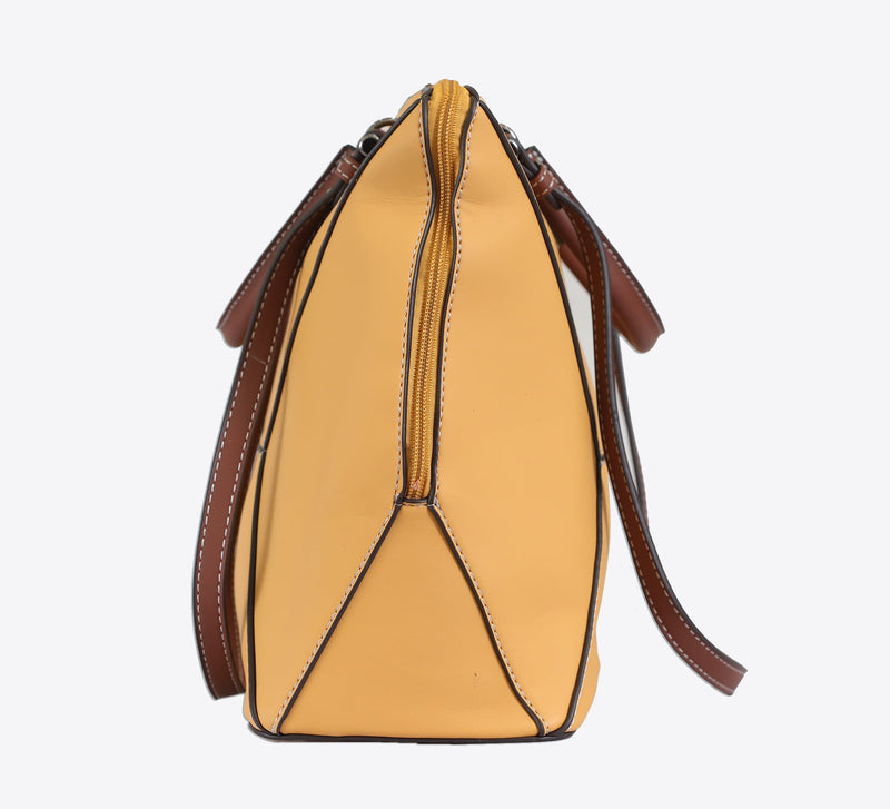 Deep Yellow Structured Hand Bag - Mahroze