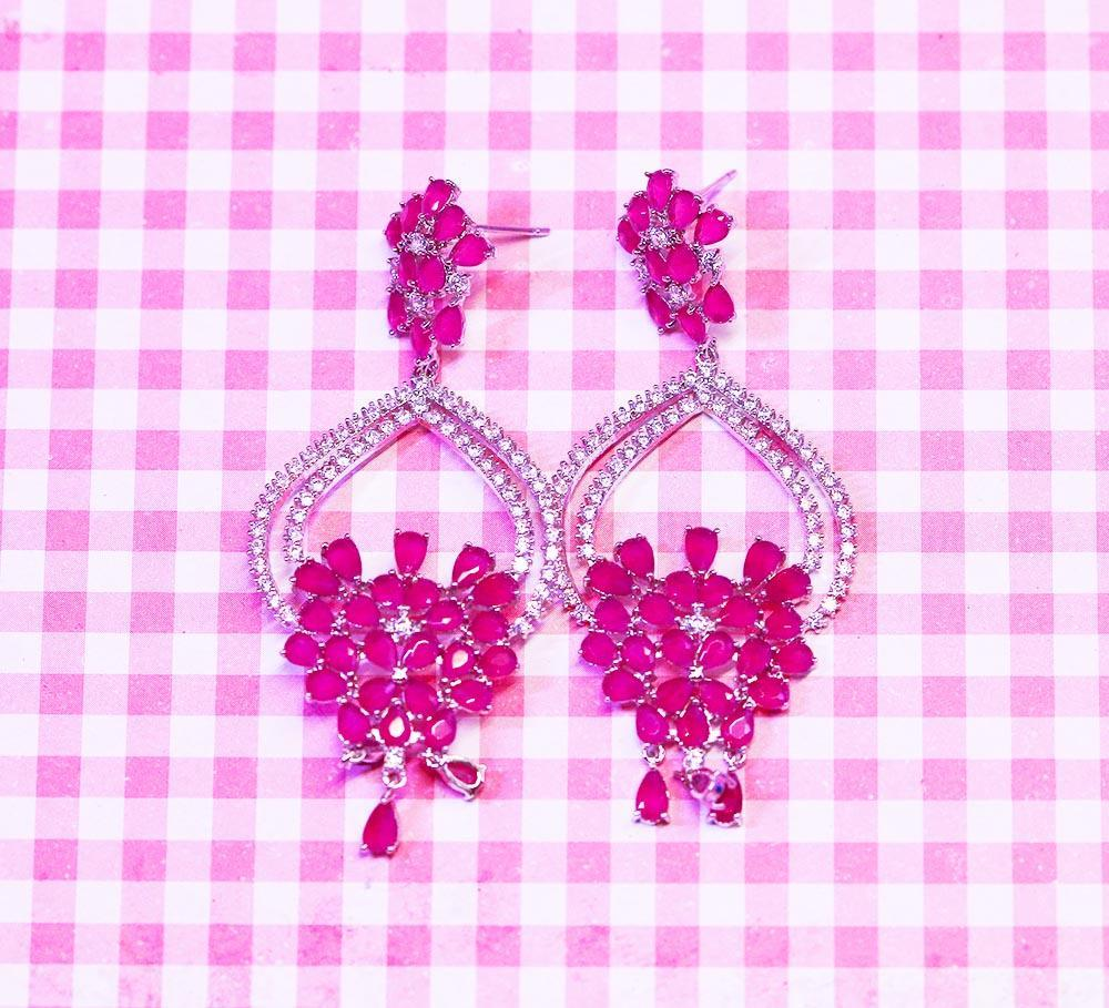 Buy Pink Stones Wedding Earring Online in Pakistan
